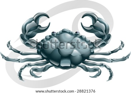 Illustration representing Cancer the crab star or birth sign. Includes the symbol or icon in the background - stock vector