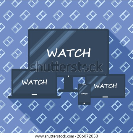 Illustration Responsive Design - Watch Background with Movie Stripe Pattern - stock vector