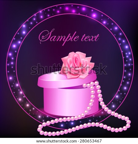 illustration rose and box with pearl necklace - stock vector