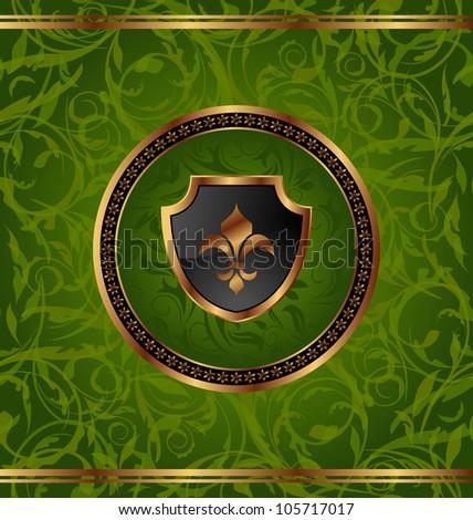 Illustration royal golden frame with medallion and fleur de lis for design packing - vector - stock vector