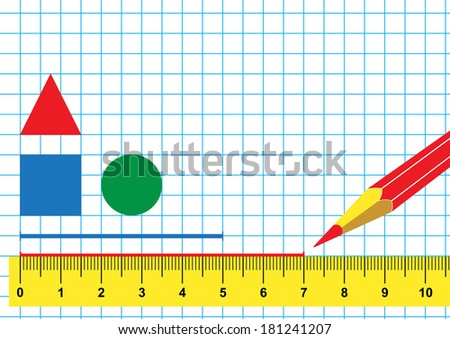 Illustration ruler, pencil and drawing geometric shapes on a cellular sheet - stock vector