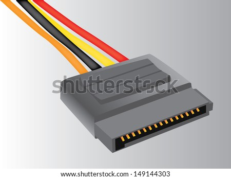 illustration SATA HDD Power cable adapter isolated  - stock vector
