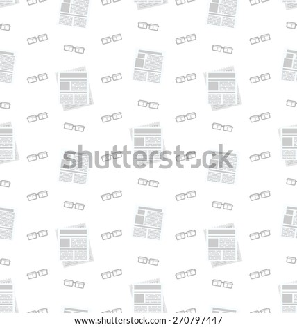 Illustration Seamless Pattern with Newspapers and Eyeglasses, Flat Business Icons, Repeating Backdrop - Vector - stock vector