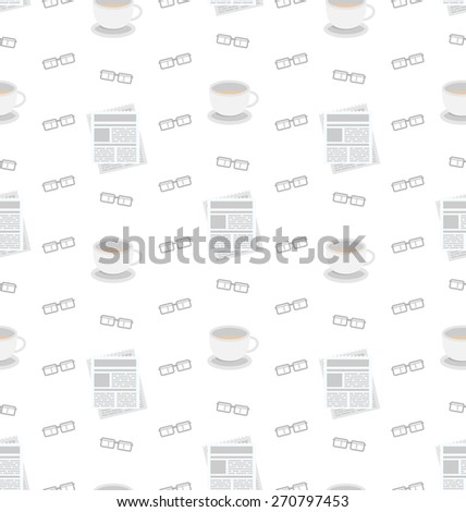 Illustration Seamless Pattern with Newspapers, Coffee and Eyeglasses, Flat Business Icons, Repeating Wallpaper - Vector - stock vector
