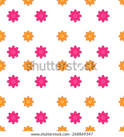 Illustration Seamless Texture with Flowers, Elegance Child Pattern - Vector - stock vector