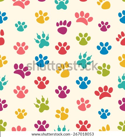 Illustration Seamless Texture with Traces of Cats, Dogs. Imprints of Paws Pets - Vector - stock vector