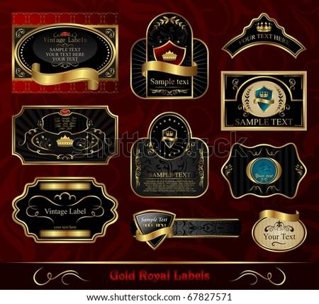 Illustration set black gold-framed labels - vector - stock vector