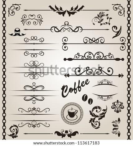 Illustration set floral ornate design elements (7) - vector - stock vector