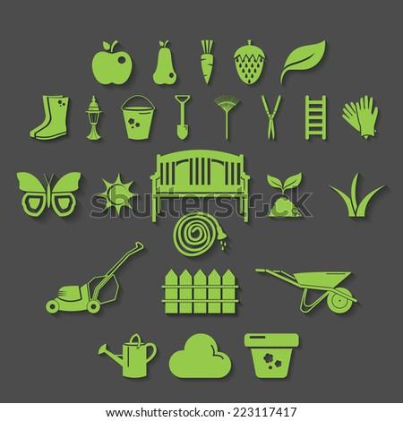 Illustration set icon of garden. Vector - stock vector