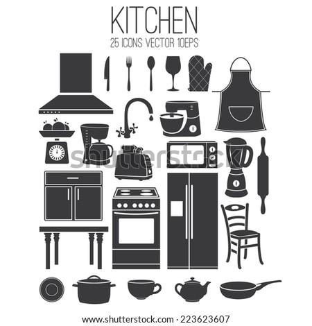 Illustration set icon of kitchen. Vector - stock vector