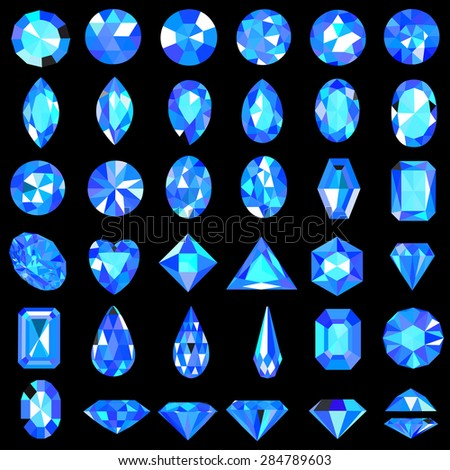 Illustration set of blue gems of different cuts and shapes - stock vector