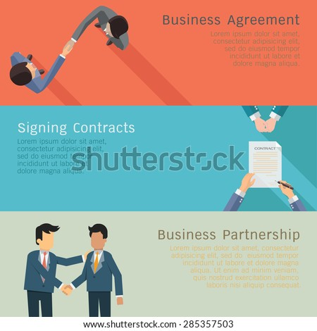 Illustration set of business concept in agreements, handshake, corporation, signing contracts, partnership. Flat design.  - stock vector