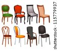 illustration set of different chairs for home and office - stock vector