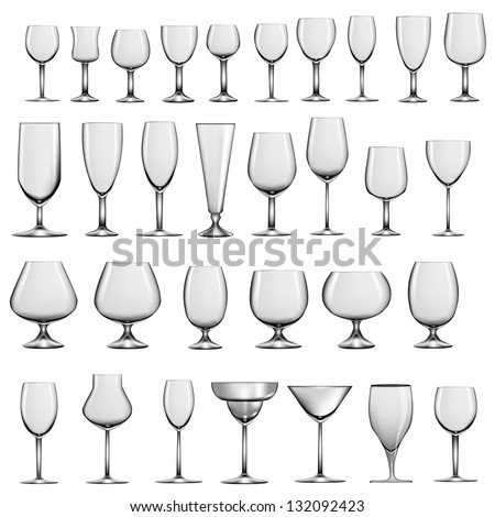 illustration set of empty glass goblets and wine glasses - stock vector
