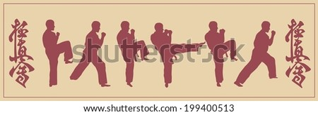 Illustration, set of images of the man engaged in karate - stock vector