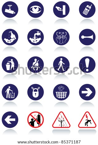 Illustration set of international communication signs. All vector objects and details are isolated and grouped. Colors, reflection and transparent background color are easy to remove or customize. - stock vector