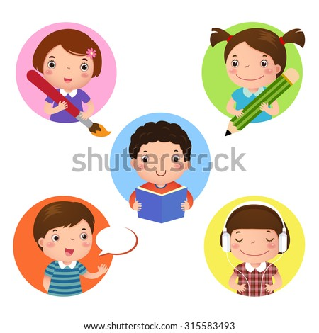 Illustration set of kids mascot learning. Icon for writing, drawing, reading, speaking and listening - stock vector
