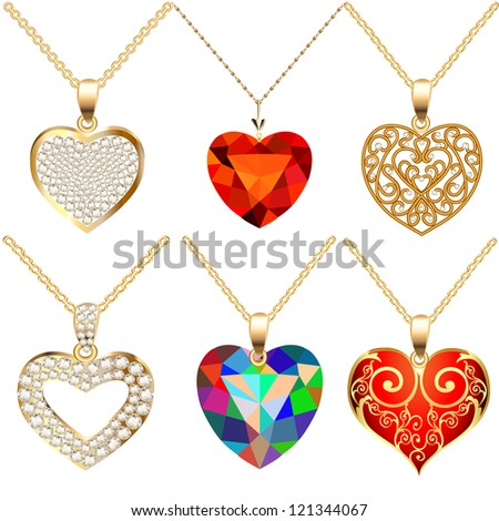 illustration set of pendants pendant with precious stones in the form of heart - stock vector