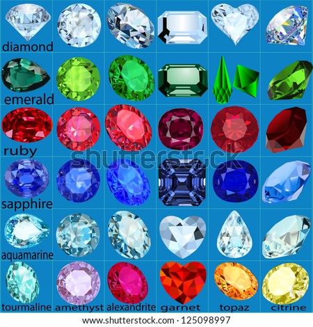 illustration set of precious stones of different cuts and colors - stock vector