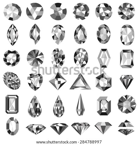 Illustration set of precious stones of different cuts and shapes - stock vector