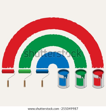 Illustration set of roller brushes with strips paint. Vector. - stock vector