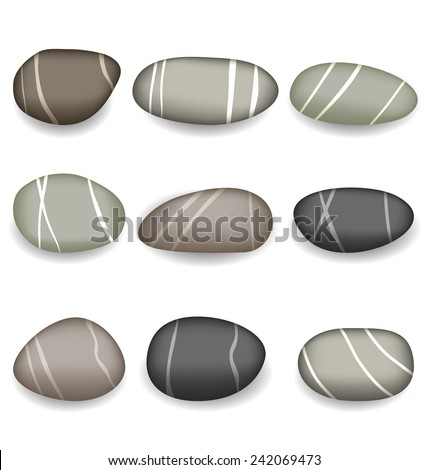 Illustration set sea pebbles with shadows on white background - vector - stock vector
