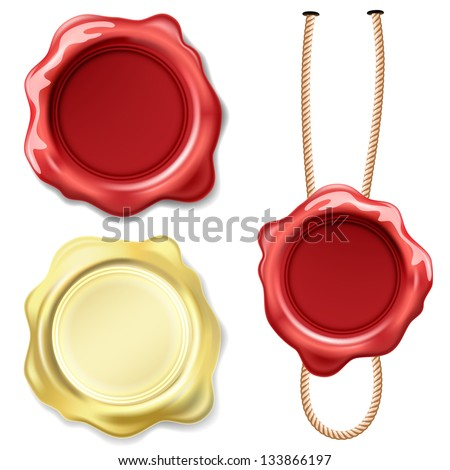 Illustration set seal wax isolated on white background. Vector. - stock vector