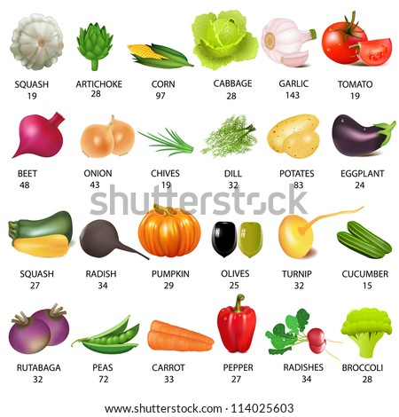 illustration set vegetable with calories on white - stock vector