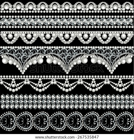 illustration set with lace ornaments with pearls - stock vector