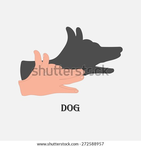 Illustration shadow of the animal on a white background - stock vector