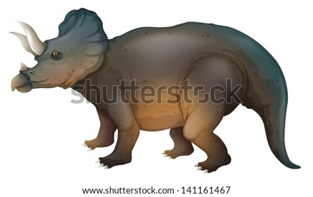 Illustration showing a triceratops - stock vector