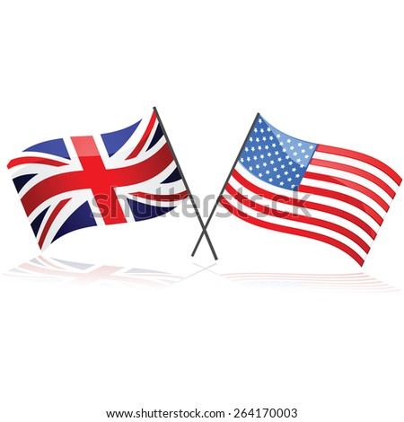 Illustration showing the Union Jack flag together with the United States flag - stock vector