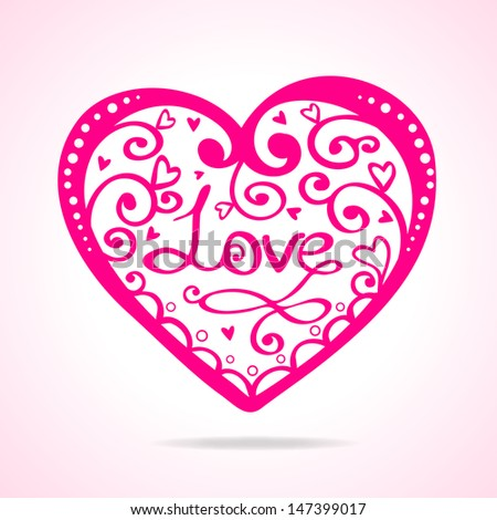 illustration silhouette of beautiful vintage heart - stock vector
