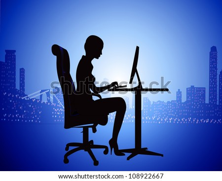 illustration silhouette woman for computer on background of the night city - stock vector