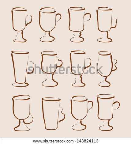 Illustration sketch set coffee and latte cups design elements - vector - stock vector