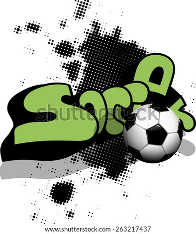 Illustration soccer ball on abstract black background - stock vector