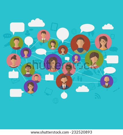 Illustration social connection on world map with people icons - vector  - stock vector