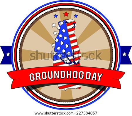 Illustration. Stamp. Groundhog day.Vector label background for text - stock vector