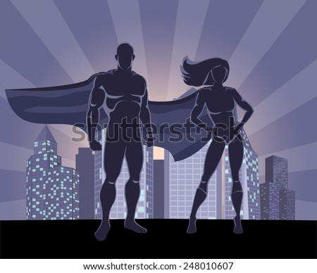 Illustration superman and superwoman against the backdrop of the city at night. Vector Superhero Couple - stock vector