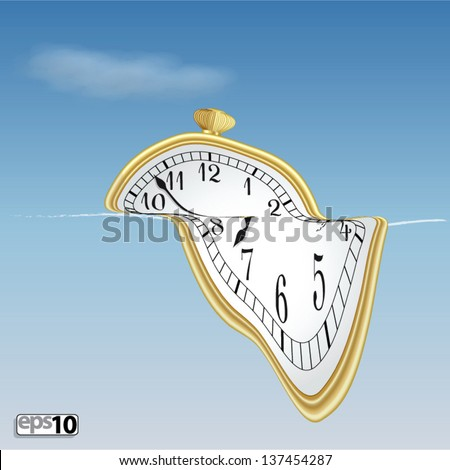 Illustration surreal soft clock - stock vector