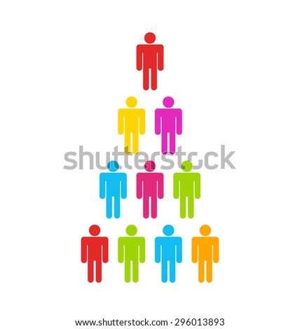 Illustration Team Colorful Simple Icons, Community Business People - Vector - stock vector