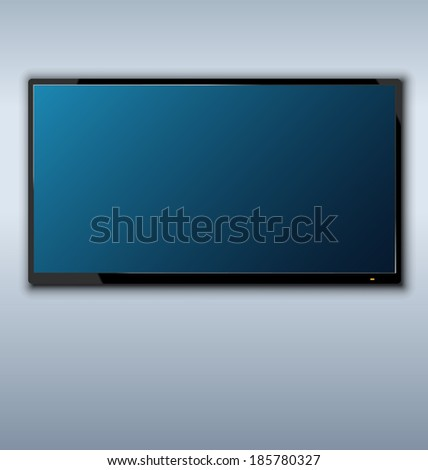 Illustration tft tv hanging on the wall background - vector - stock vector