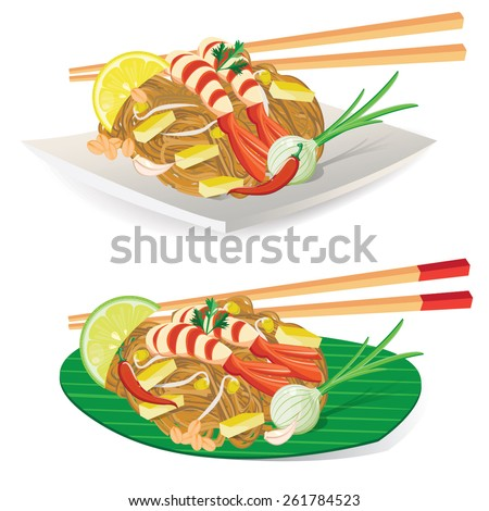 illustration. Thailand's national dishes, stir-fried rice noodles (Pad Thai) - stock vector