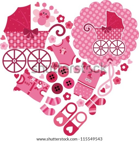 illustration - the heart of the lovely pink items for a little girl - stock vector