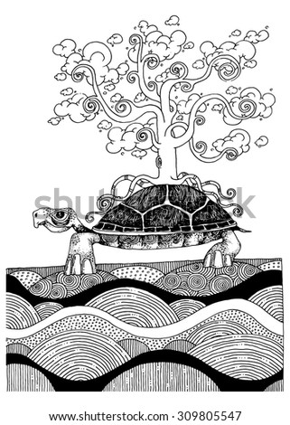 illustration the wise turtle with the tree of life with cloud leafs ancient story spiritual - stock vector