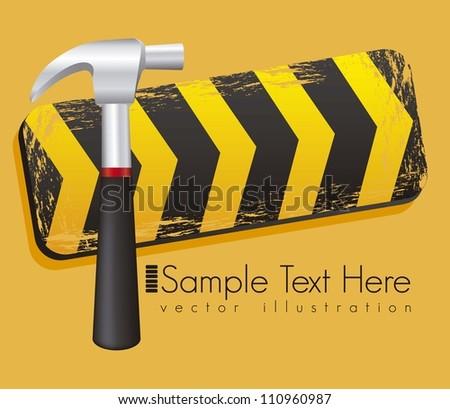 Illustration traffic tape hammer,  under construction, vector illustration - stock vector