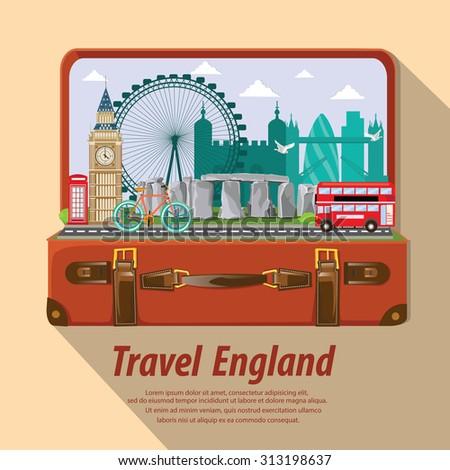 illustration. travel around England. - stock vector