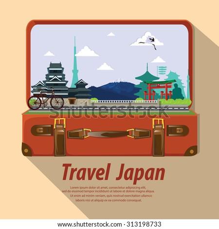 illustration. travel around Japan. - stock vector