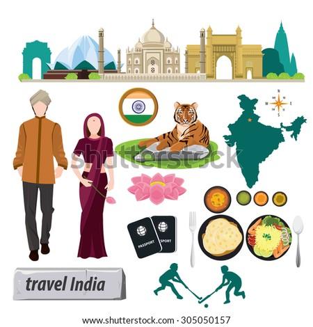 illustration. travel around Republic Of India - stock vector