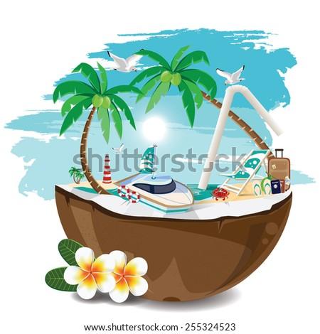 illustration. travel summer on the beach - stock vector